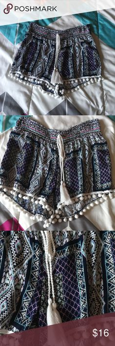 💙💜Adorable shorts💜💙 Hot Kiss shorts! Super adorable!!!! Size large. Tribal design 💜💙💜 Balls on the legs. Fuzz strings💙💜💙💜Pefect condition never worn!! 💜💙💜💙💜💙💜 Hot Kiss Shorts