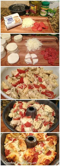 Easy Pull Apart Pizza Bread (no pepperoni - just olives)