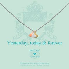 Yesterday, today & forever necklace (Heart to Get - Classic collection) / Available in: silver with rose, silver and gold hearts