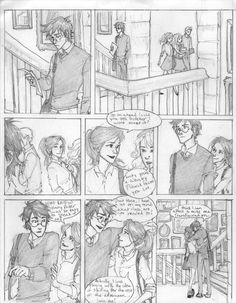 A Harry and Ginny scene (not sure what the exact name of the drawing is) by Burdge Harry Potter Fan Art, Harry Potter Universal, Harry Potter World, Vif D'or, Gina Weasley, Burdge Bug, Harry And Ginny, Mischief Managed, Fantastic Beasts