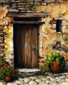 Mediterranean Portal by Emerico Imre Toth - Mediterranean Portal Painting - Mediterranean Portal Fine Art Prints and Posters for Sale Portal Art, Art Abstrait, Painted Doors, Fine Art, Pictures To Paint, Lake Pictures, Painting Inspiration, Landscape Paintings, Watercolor Paintings