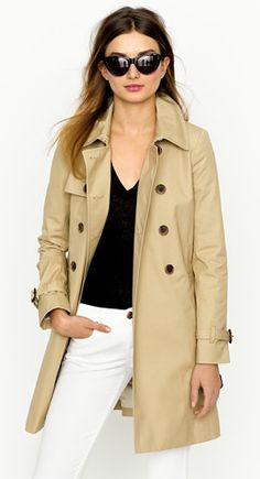 Classic trench- J.Crew. Love the color and the style of the trench!