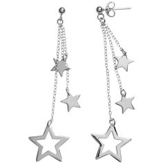 Journee Collection Sterling Silver Dangling Star Earrings ($34) ❤ liked on Polyvore featuring jewelry, earrings, white, star earrings, white jewelry, long earrings, sterling silver jewelry and long dangle earrings