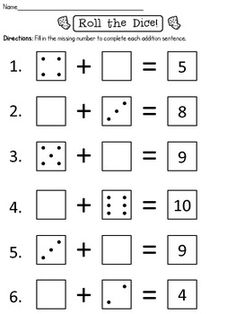 Roll and add addition worksheet for kindergarten. This