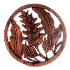 Wood relief panel, 'Proud Heliconia' by NOVICA