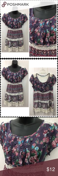 Boho Tieback Blouse by MAURICES Lace Trim Sz Lrg Fun boho Blouse by MAURICES. Sheer floral fabric. Lace trim. Tie back. Sz Large Maurices Tops Blouses