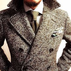 Window pane dress shirt with semi spread collar, pique woven tie,  double breasted coat in oversized herringbone tweed... this is great...