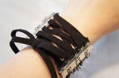 Black Corset Bracelet – Gothic Jewlery – Steampunk Cuff – Gun Metal Jewlery – Gun Metal Bracelet. $22.00, via Etsy.