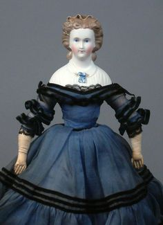 This fabulous, rare German Parian lady has so many qualities that appeal to connoisseurs of early German dolls. I have never seen another Parian girl