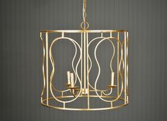 Devon Gold Pendant with Antique Brass Chain and Canopy 40 Watt Per Socket, 3 Sockets 120 Watts Total Brass Chain, Gold Pendant, Devon, Antique Brass, Canopy, Chandelier, Ceiling Lights, Lighting, Antiques