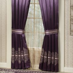 Purple Lace Curtains Vintage Tailored Curtain Pair Dusty Bedding