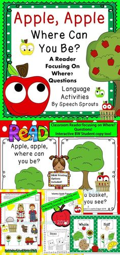 Practice Where? questions with a cute apple themed interactive reader! Class book,PowerPoint, puppet and activities for concepts and following directions too! $