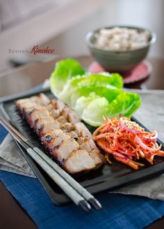 Oven Roasted Korean Pork Belly with Onion Salad