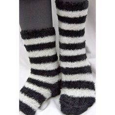 Wide Stripe Fuzzy Socks (12 AUD) ❤ liked on Polyvore