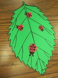 Kids craft Idea paper leaf with lady bug sticks