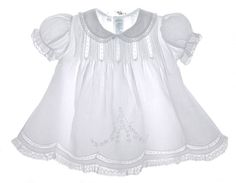 NEW Feltman Brothers White Batiste Dress with Lace Edged Collar and Matching Slip with Lace Insertion $65.00