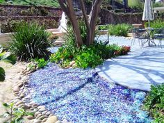 Instead of gravel...tumbled glass (but only if you don't have kids to cart it off! LOLL)