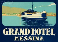 ITALY - Grand Hotel Messina Old Luggage Label