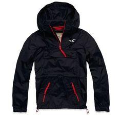 Hollister by A& F New! Mens Navy Blue Windbreaker Outerwear Hood Jacket~Medium