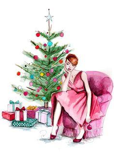 sad xmas drawings and illustrations Noel Christmas, Christmas Fashion, Vintage Christmas Cards, Pink Christmas, Christmas Pictures, Winter Christmas, Xmas, Illustration Noel, Christmas Illustration