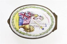 A rare mid-18th˜Century English Staffordshire enamel patch box Depicting Britannia seated with