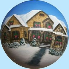 Hand_Painted_Christmas_Ornaments_House_Portraits Painted Christmas Ornaments, Personalized Christmas Ornaments, Kugel, Decorative Bowls, Portraits, Hand Painted, Gifts, House, Home Decor