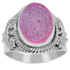 Orchid Jewelry 925 Sterling Silver 6 3/5 Carat Pink Druzy Ring (925 Silver-Pink Druzy-Size 7), Women's