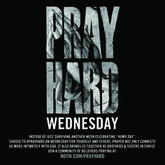 """#PrayHard Wednesday is here! Instead of celebrating """"hump day"""", let's choose to carry one another's burdens through prayer. Let's trust in the Lord, lean on His understanding & allow God to be strong in our difficult circumstances through our prayers. What do you need prayer for?"""