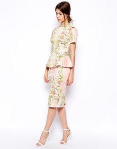 ASOS | ASOS Premium Floral Peplum Dress at ASOS
