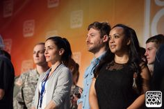 Actresses Emmanuelle Vaugier and Karan Ashley with actor Dean O'Gorman at the Salt Lake Comic Con 2015 Press Conference