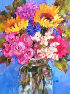 """""""Suns and Roses"""" original fine art by Libby Anderson"""