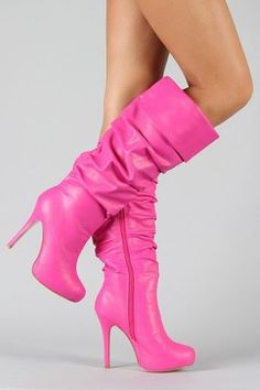 PINK Knee High Boots I Love ❤ THIS One OK BUT I DON'T Have LONG LEGS AND I WILL KILL Myself TRYING to WALK In Them OK Love ❤ Nikki