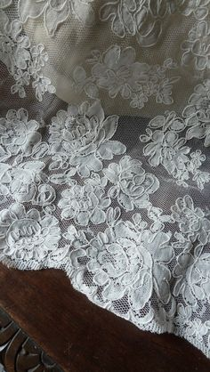 SAMPLE Alencon Lace New Style in Creme for Bridal Gowns, Clutches, Headpieces…