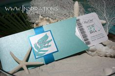 Boarding Pass Invitations in a portable pocket.  Caspian blue colors! Inspirations by Amie Lee