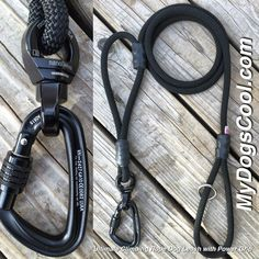 Black Raven Ultimate Climbing Rope Dog Leash. Built with mil spec climbing rope with nanoSwivel, carabiner and optional power grip. Designed for the Big Dogs. http://mydogscool.com/store/ultimate-climbing-rope-dog-leash/ #ropeleash #dogleash