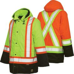 Work King Thermal Parka, criss-cross reflective tape across the back. $96.