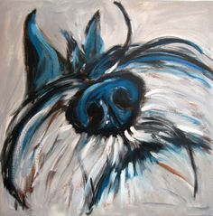 Muttley by Kat Crosby, abstract Schnauzer, acrylic on canvas.