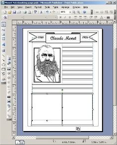 notebooking pages - clear step by step how to use publisher to make your own worksheets