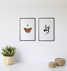 The Monarch and The Snake by InfiniteMantra. Gallery Set of 2, BohoWall Art, Witchy Wall Art, Set of 2 Minimalist Poster, Boho Wall Gallery, Boho Decor. A one of a kind piece of art that will bring color and life to bedroom, living room, home office, any room. My art is inspired by dreams, taking you to a magical realm where anything is possible. #fantasyprint #homedecorideas #bedroomwalldecor Contemporary Art Prints, Yoga Art, Wall Decor, Wall Art, Minimalist Poster, Beautiful Wall, Boho Decor, Office Decor, Snake