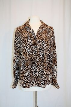 8b0ef653e068c 1990 s Leopard Cheetah Blouse X-Large Vintage Retro 90 s Animal Print  Exotic Top Long Sleeves Polyester