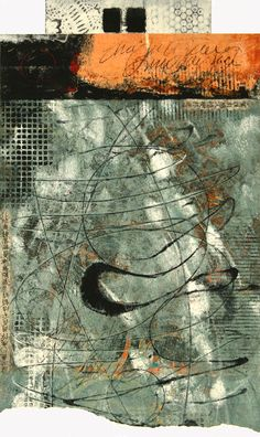 "Vagrant Variation, by Anne Moore, monotype with collage, 15.5""x9 .5"""