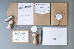 Einladung Hochzeit DIY   Pocketfold, Save-the-Date mit Stempel und Siegel