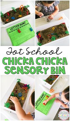Help students learn letters with this alphabet sensory bin inspired by Chicka Chicka Boom Boom. Perfect for Tot School, Preschool or Kindergarten! Preschool Classroom, Classroom Activities, Kindergarten, Classroom Ideas, Stem Preschool, Preschool Themes, Primary Classroom, Preschool Learning, Toddler School