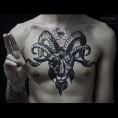 Tattoo Artist: Teti Malik - Scady Tattoo, Ukraine www.tatteo.com #Baphomet #linework #maliktattoo