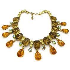 Image of Vintage 1940s Austrian Couture Autumnal Rhinestone Glass Riviere Necklace