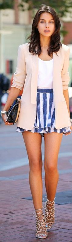 Nanette Lepore Blue And White Stripe High Waisted Layered Skort by Vivaluxury