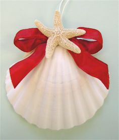 Beach Ornaments - Large Scallop Shell Christmas Ornament. $9.00, via Etsy.