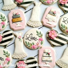 Black & White Stripe with Floral Kate Spade Inspired Wedding Cookies