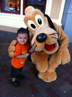 My Prince With Pluto. 10/18/12 @Disneyland #Disneyland #pluto #dog #son #cute #adorable #smile #disney