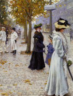 FISCHER, Paul Danish (1860-1935)_Venter Pa Sporvognen (Waiting For The tram) 1907
